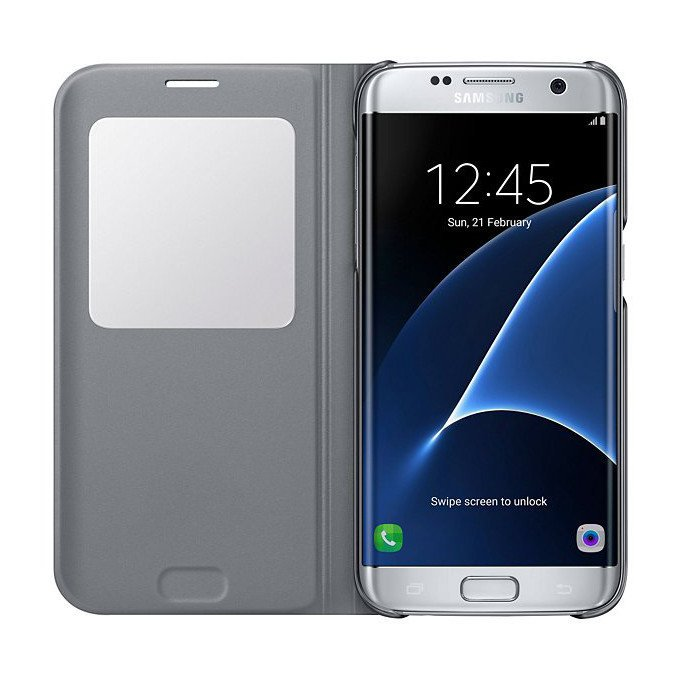 Etui S-view cover Samsung do Galaxy S7 edge, srebrne (EF-CG935PSEGWW)
