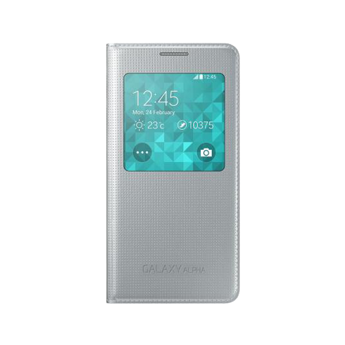 Etui S View Cover do Galaxy Alpha srebrne (EF-CG850BSEGWW)