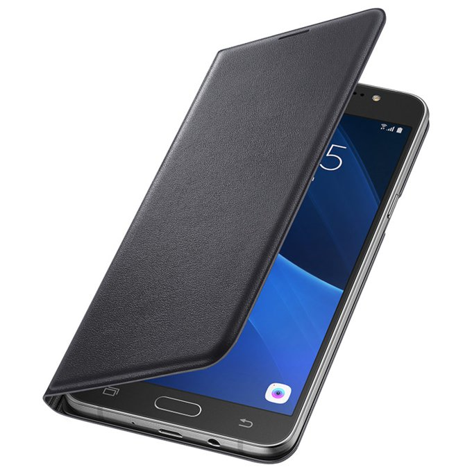 Etui flip wallet do Galaxy J7 (2016), czarne (EF-WJ710PBEGWW)