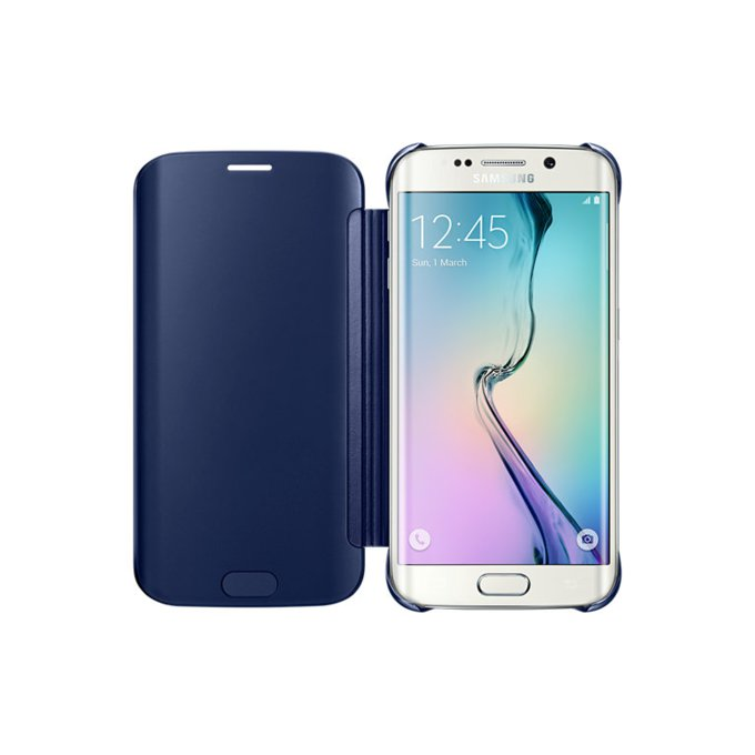 Etui clear view cover do Galaxy S6 Edge, czarne (EF-ZG925BBEGWW)
